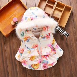 Jesień zima dziewczynka płaszcze kurtki niemowlę odzież wierzchnia bawełniane płaszcze z kapturem dla dziewczynek kurtki puchowe