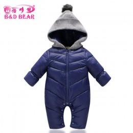 Toddlers Snowsuit Winter Boys Baby pajacyki ciepłe kombinezony dla dziewczynek noworodka ubrania wyściełane bawełną Parka zagęśc
