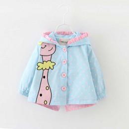 Menoea 2019 marka jesień moda dziewczynka płaszcze kurtki ze wzorem żyrafy ubrania dla dzieci Cartoon kropki z kapturem dziecięc
