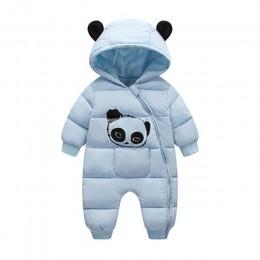 Śliczne Panda dziecko zimowe pajacyki z kapturem gruba bawełna ciepły strój kombinezon dla noworodka kombinezony Snowsuit dzieci