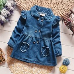 Płaszcze dżinsowe dla dzieci babie lato kurtki dla dziewczynek maluch moda dla dzieci bawełna odzież wierzchnia dla dziewczynek