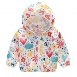 Noworodek płaszcz maluch dzieci lato ochrony przeciwsłonecznej kurtki drukowanie z kapturem Windbreak odzież wierzchnia noworodk