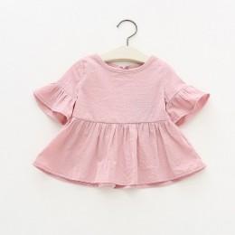 Lotus Leaf Sleeve Baby t-shirty biały różowy żółty kolory z długim rękawem kropki T-shirt jesień bawełniane topy Baby Girl Cloth