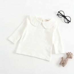 Nowonarodzone dziecko chłopiec biały T Shirt niemowlę dzieci dziewczyny długi rękaw bawełniana bluzka topy koszulki dziecko biał