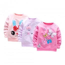 3 części/partia dziewczynka T koszula z długim rękawem dziewczynek topy bawełna casual wiosenna koszulka niemowlę Tees pierwsze