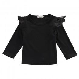 Maluch niemowlę dziewczynka ubrania dla dzieci bawełniane falbany z długim rękawem T-Shirt bluzka koronkowy top Tee stroje