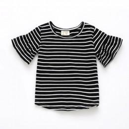 Dziewczynek ubrania lotos liść rękaw dziecko t-shirty z krótkim rękawem koszulka w paski lato 100% miękka bawełniana topy ubrani