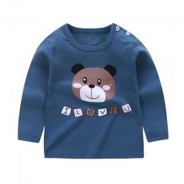 Jesień nowe dzieci dziewczynek chłopców z długim rękawem topy bawełniana koszulka z okrągłym dekoltem bluzka ubrania dla dzieci
