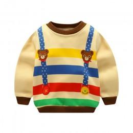 Wzór kreskówki Baby Boy ciepłe bluzki dziewczynka zimowe modne ciuchy