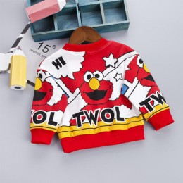 Moda dla dzieci sweter jesień Cartoon wzór chłopcy bluzy noworodka miękki wierzch bluzy z kapturem wiosenne dla 9 M-4 T maluch o