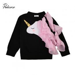 2017 zima noworodków dziewczynek z długim rękawem jednorożec bluzki z falbanką bluzy ubrania 0-24M