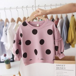Dot Baby Girl bluza wiosna jesień O-neck bluzy dla dziewczynki z długim rękawem bawełna Casual niemowlęta noworodka topy odzież