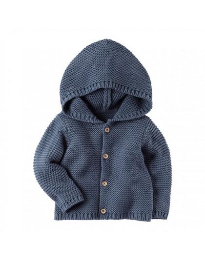 Ciepły zimowy jesienny sweterek dla dzieci niemowląt chłopca dziewczynki dziergany z kapturem na guziki