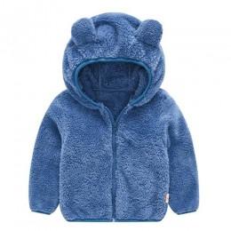 Baby Boy dziewczyna ubrania polar zima jesień maluch dzieci śliczne ucho zamek jednolity, gruby płaszcz z kapturem ciepła odzież