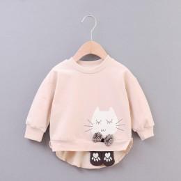 Cat Baby Girls bluza 2019 nowa wiosna jesień niemowlę bluzy dla dziewczyny z długim rękawem O-neck noworodków topy odzież