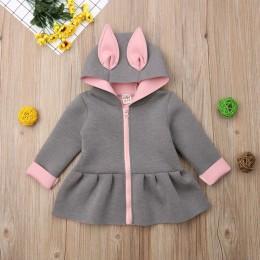 Maluch dziewczynek 3D ucho króliczek płaszcz z królika bluza z długim rękawem stroje ubrania