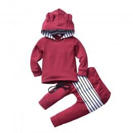 Gorąca sprzedaż Boys Baby dziewczyny zimowa bluza z kapturem dla dzieci z długim rękawem ciepłe bluzy z kapturem uszy spodnie w
