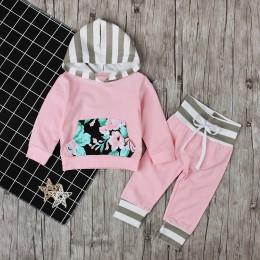 Wiosna jesień odzież dziecięca zestaw dziewczynek różowy sweter z kapturem róże kieszeń bawełniane w paski kombinezon kapelusz d