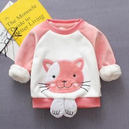 BibiCola sweter dla dziewczynki zimowe dzieci bebe kreskówka łuk swetry dla dzieci dziewczyny plus aksamitna dorywczo zagęścić c
