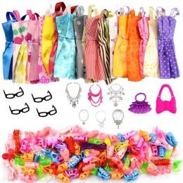 32 przedmiot/zestaw akcesoria dla lalek  10 sztuk ubranka dla lalki sukienka + 4 okulary + 6 naszyjnik z tworzywa sztucznego +