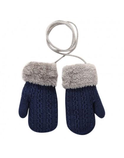ARLONEET dziecko jesienne i zimowe dzianiny ciepłe rękawiczki dziewczyny chłopcy na zewnątrz zima Patchwork utrzymać ciepłe ręka