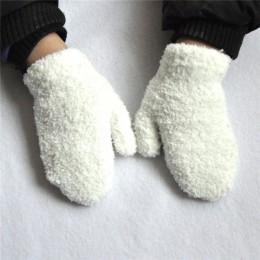 Warmom pluszowe grube ciepłe dla dzieci rękawiczki zimowe Plus aksamitne rękawiczki dziecięce dla dzieci koral polar pełne rękaw