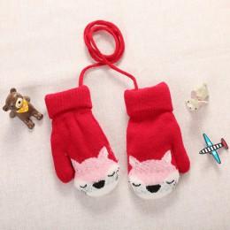 Nowy 0-3 Y Cute Cartoon Fox Baby rękawiczki zimowa wełna dodatkowo pogrubiony pełna lina mitenki ciepłe rękawiczki z dzianiny dl