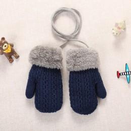 Nowe zimowe chłopięce dziewczęce rękawiczki ciepłe akrylowe sznurkowe rękawiczki pełne palce dziecięce rękawiczki dziecięce dzie