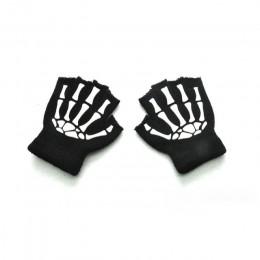 BalleenShiny dzieci dzianiny luminous rękawiczki Halloween szkielet rękawiczki bez palców duch Paw rękawica ze wszystkimi palcam