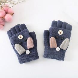 Rękawiczki zimowe dla dzieci dzieci dziewczynka chłopiec 4-12 lat pół z efektem poruszania palcem pokrywy rękawiczki chłopcy zwi