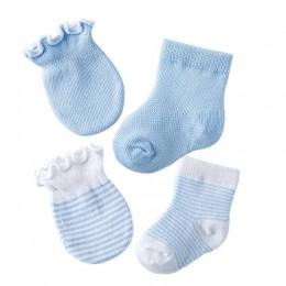 4 pary dzieci dzieci dziecko skarpetki dla noworodka rękawice Anti-scratch oddychająca elastyczność NSV775