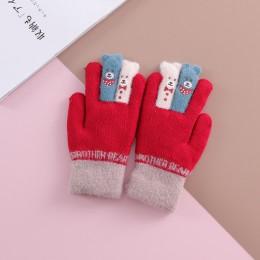Wysokiej jakości zimowe dziecięce palce podwójnie gruba ciepłe rękawiczki dziewiarskie aksamitne rękawiczki chłopięce rękawiczki