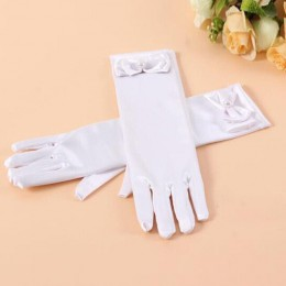 Długie księżniczki taniec sceniczne rękawiczki satynowe dzieci dziewczyny suknia ślubna kostium akcesoria z kokardą dzień dzieck