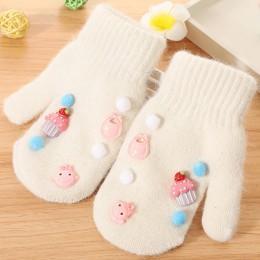 1 para Cute Cartoon dzieci rękawiczki zimowe jesień ciepłe chłopcy dziewczęta rękawiczki Knitting zagęścić dzieci pełne mitenki