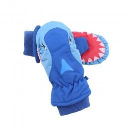 Jazda na nartach wodoodporne rękawiczki dzieci Cartoon rekiny rękawiczki zimowe najcieplejsze oddychające rękawiczki dla dzieci