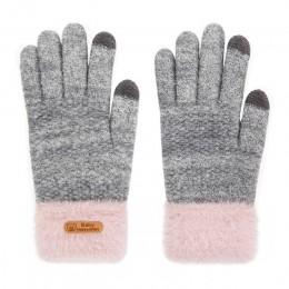REAKIDS zimowe dziecięce rękawiczki dla dziewczynek bawełniane grube pełne palce 5-9 lat rękawiczki telefon dotykowy ciepłe dzia