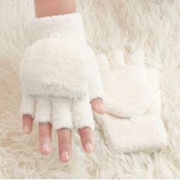 Rękawiczki dla dzieci dla dzieci dziewczyny koral aksamitne podwójnego zastosowania z klapką pół palca rękawiczki