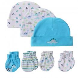 2019 Unisex bawełna biały nowonarodzone chłopcy dziewczęta czapki dla dzieci rękawiczki nakrycia głowy wyposażone dziecko śliczn