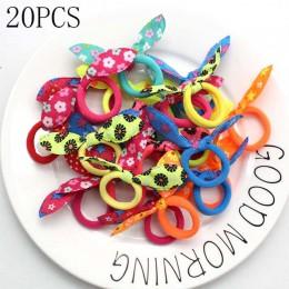 20 sztuk dzieci elastyczna opaska do włosów śliczne Polka Bow opaska uszy królika dziewczyna pierścień Scrunchy dzieci kucyk Hol