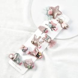 Raindo 18 sztuk/pudło dzieci śliczny zestaw akcesoriów do włosów kokardki dla dzieci kwiat spinki do włosów Barrettes spinki do
