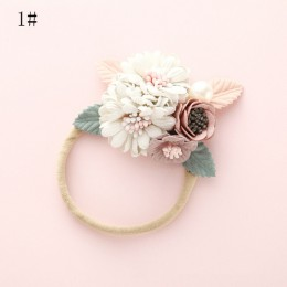 BalleenShiny moda Florals pałąk noworodka elastyczna księżniczka Hairbands dziecko dzieci perła świeży styl słodkie nakrycia gło