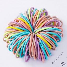Nowy 100 sztuk/partia dziewczyny cukierkowe kolory Nylon 3CM opaski gumowe dzieci bezpieczne elastyczne gumki do włosów kucyk Ho