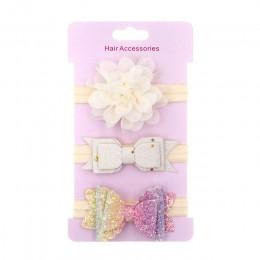 3 sztuk/partia dziecko korona opaska kwiatowe kokardki Haarband dziewczynka opaski do włosów noworodka akcesoria elastyczne dzie