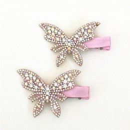 2 sztuk/partia gorąca sprzedaż spinki do włosów dziewczyny motyl migotliwy spinki błyszczące Rhinestone dla piękne dzieci pasma