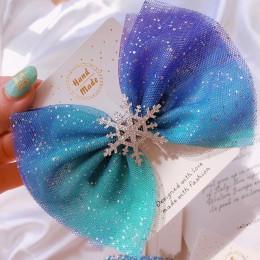M MISM boże narodzenie śnieżynka akcesoria do włosów kryształowe spinki do włosów dla kobiet zimowe gumki do włosów dziewczyny s