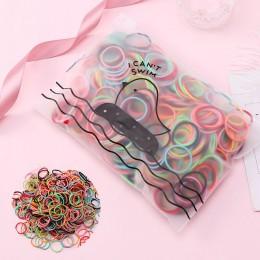100 sztuk/zestaw Bag pakowane dziewczyny śliczne kolorowe elastyczne gumki do włosów Gum dla kucyk Holder Scrunchie pałąk moda..