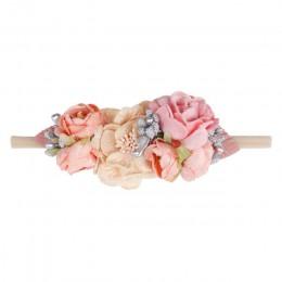 IBOWS akcesoria do włosów piękny pałąk dla dzieci sztuczny kwiat nylonowe włosy dla dzieci sztuczne kwiaty elastyczne opaski do