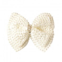 Biała peruka perłowa kokardki z spinki do włosów dla dziewczynek dzieci Boutique warstwy Bling Rhinestone centrum łuki spinki do