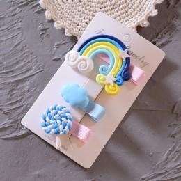 3 sztuk/zestaw ładna dziewczyna w chmurze Lollipop Rainbow spinki do włosów kreskówka wsuwka spinki do włosów dla dziewczynek op