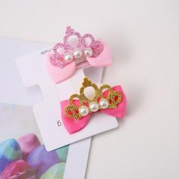 New Arrival dziewczynek dzieci błyszczące korona z kryształkami spinki do włosów księżniczka wstążka łuk kryształ klips do włosó
